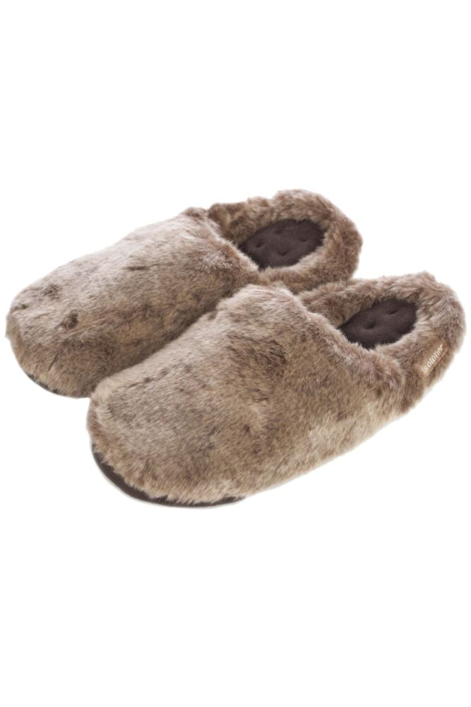 Ladies 1 Pair Isotoner Pillowstep Faux Fur Mule Slippers In Brown 33% OFF
