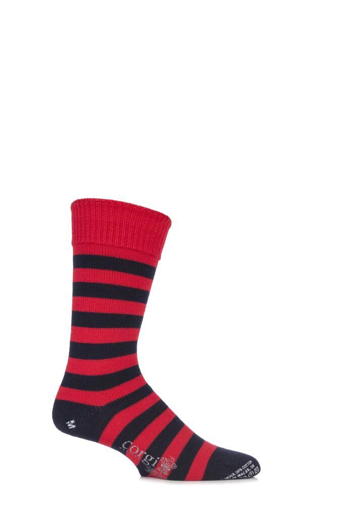 Mens 1 Pair Corgi 80% Wool Banded Striped Socks