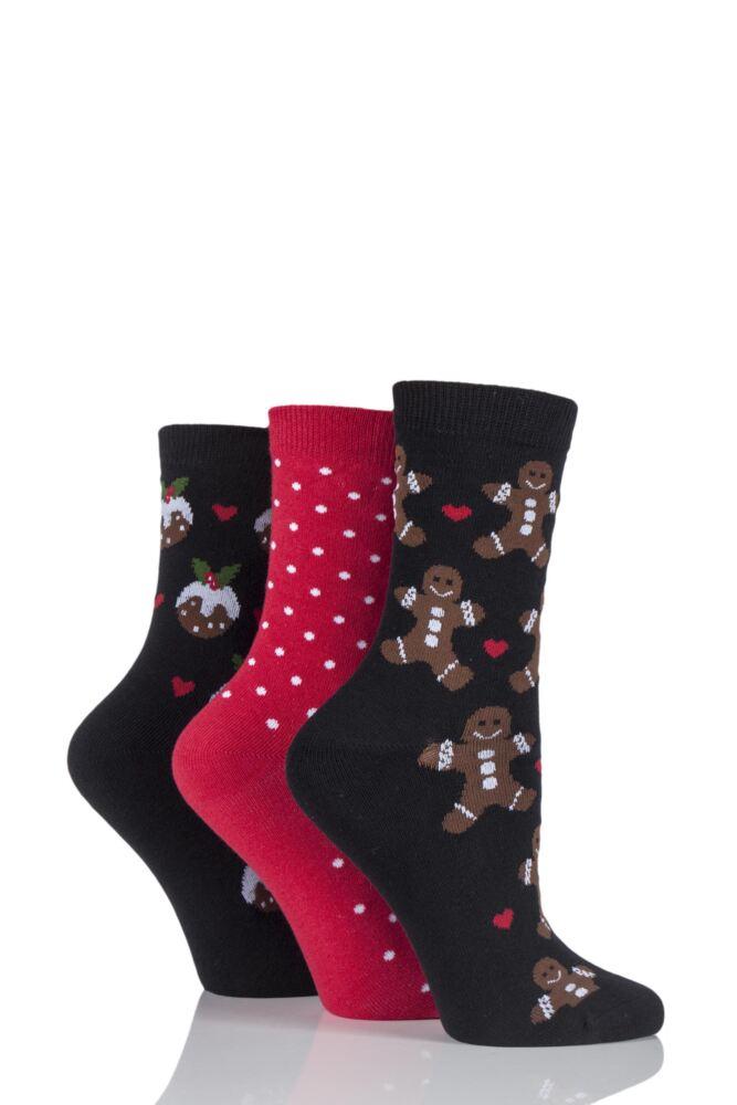Ladies 3 Pair SockShop Gingerbread Man and Pudding Design Novelty Cotton Socks