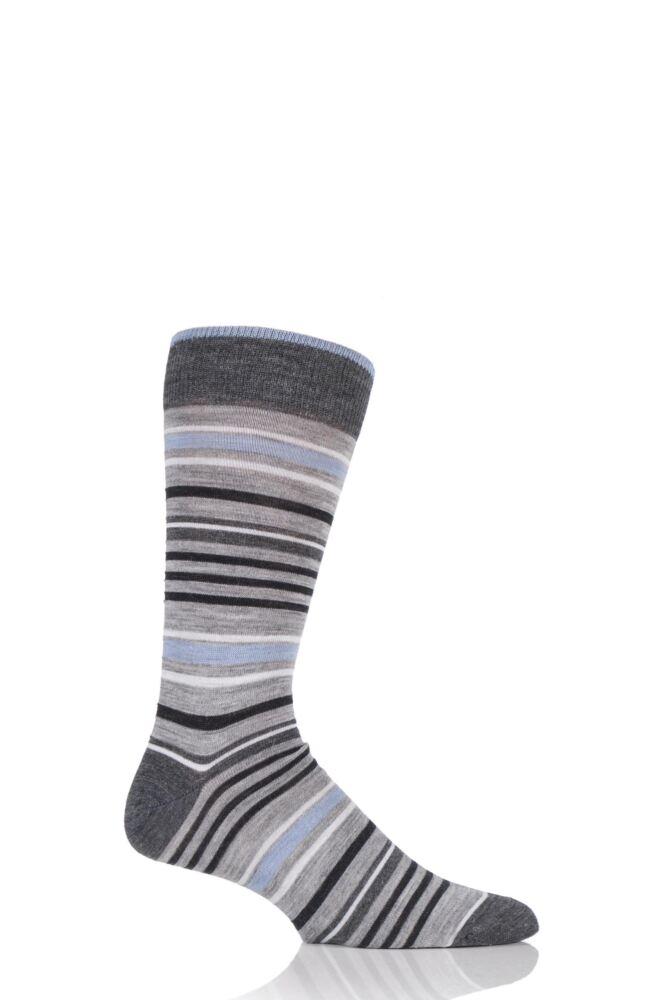 Mens 1 Pair Viyella Varied Stripe Wool Blend Socks 25% OFF