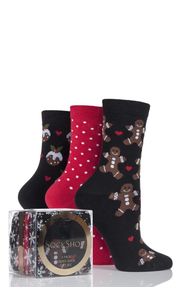 Ladies 3 Pair SockShop Gingerbread Man and Pudding Design Novelty Cotton Socks In Gift Box