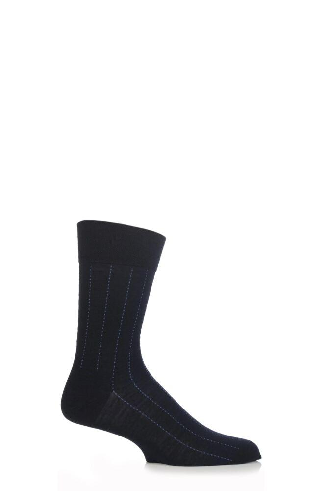 Mens 1 Pair Falke Sensitive Wool Dot Pinstripe Socks 25% OFF