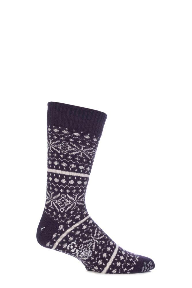 Mens 1 Pair Corgi Lambswool and Angora Fair Isle Socks