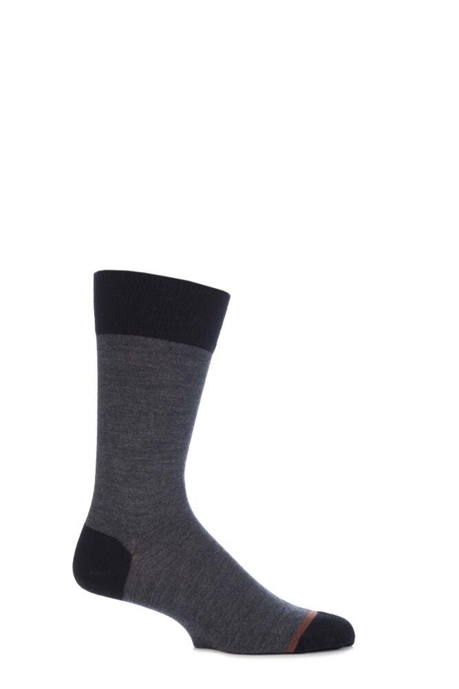 Mens 1 Pair John Smedley Maldon Extrafine Merino Wool Contrast Heel and Toe Socks 25% OFF