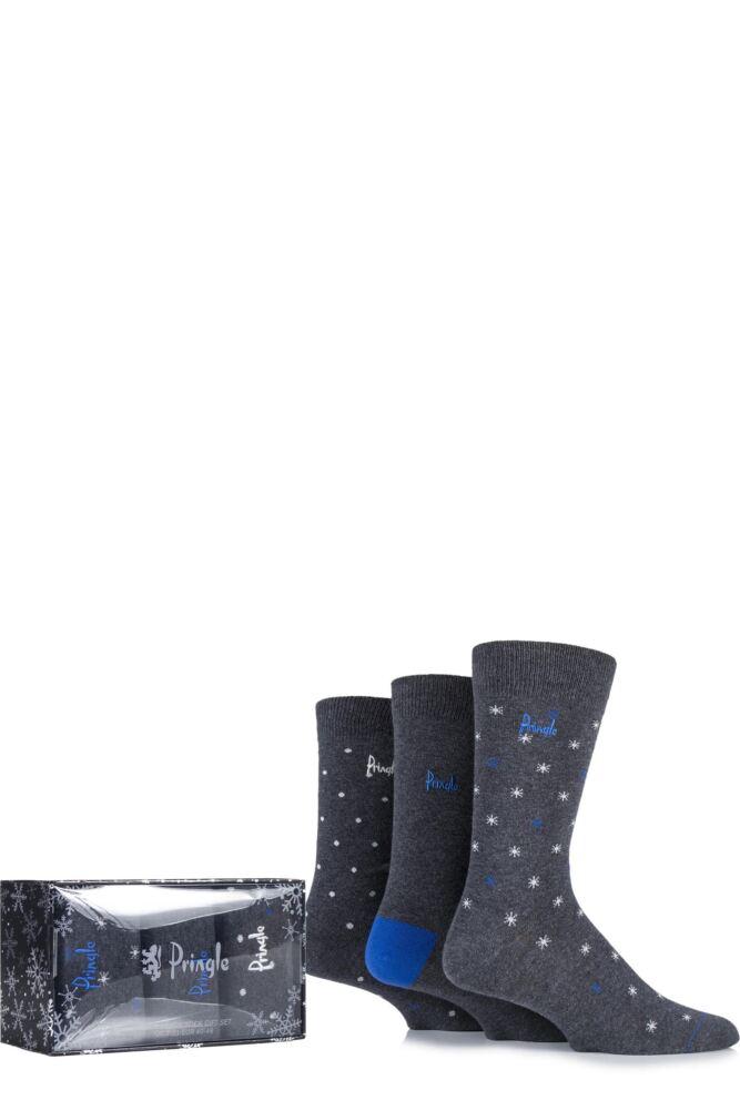 Mens 3 Pair Pringle Gift Boxed Balmaha Spotty and Snowflake Patterned Cotton Socks