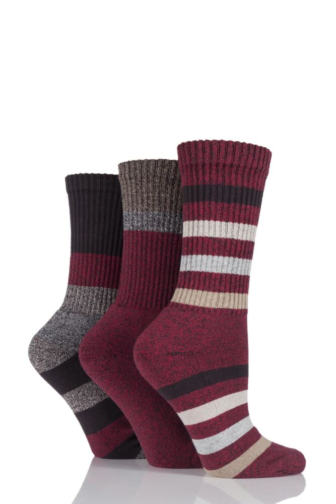 Ladies 3 Pair Jeep Striped Chunky Boot Socks