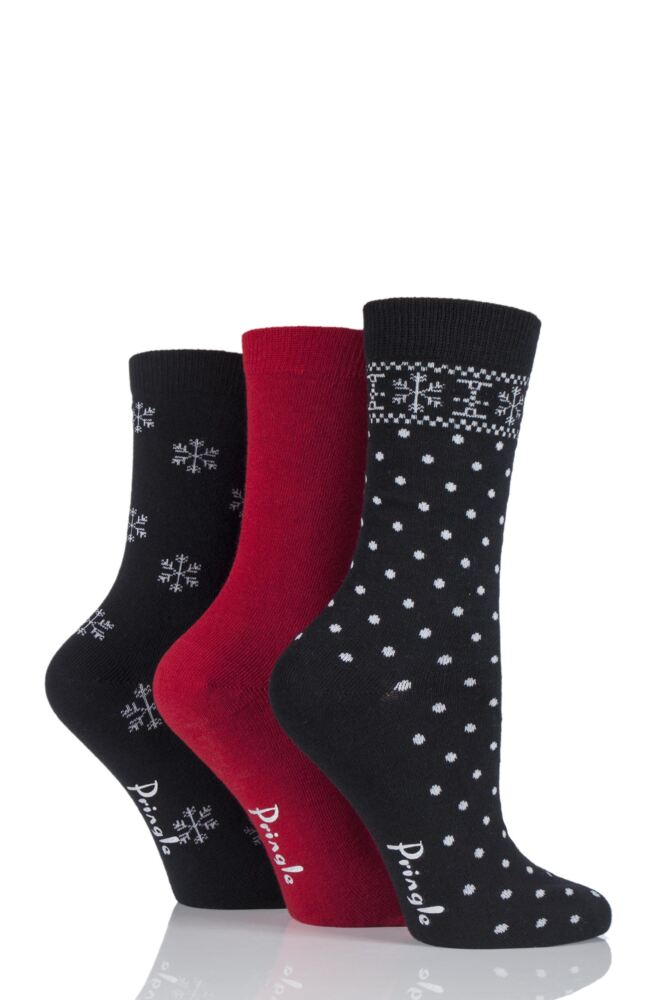 Ladies 3 Pair Pringle Sienna Plain and Snowflake Patterned Cotton Socks