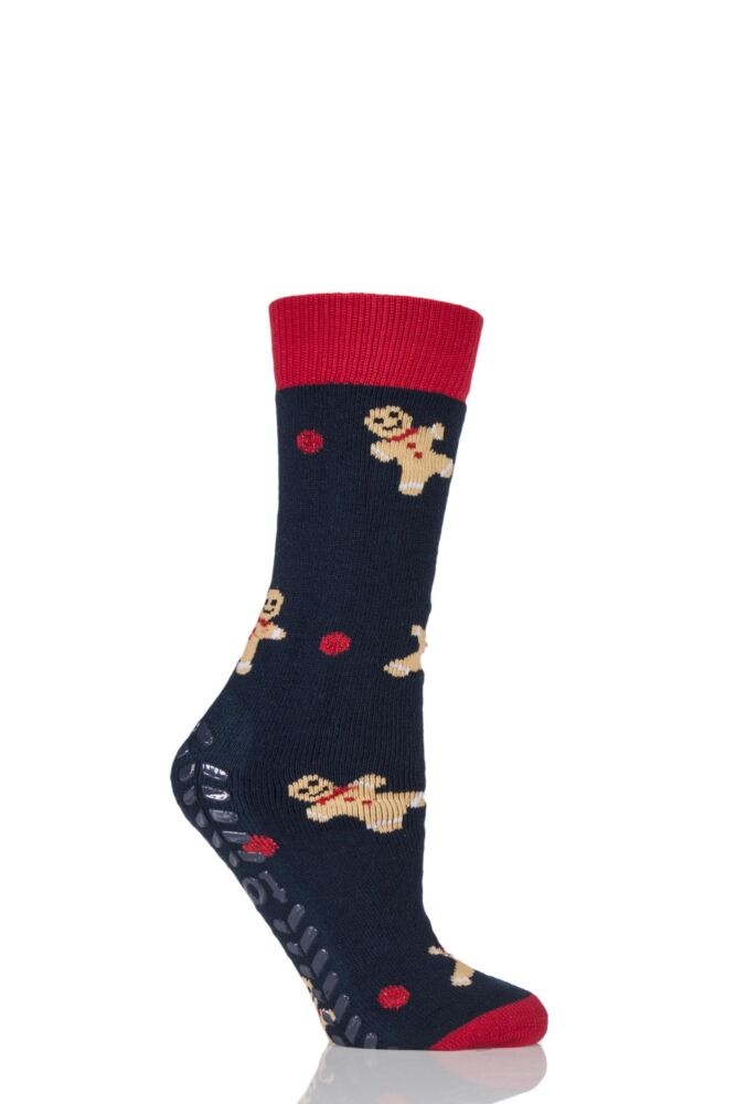 Ladies 1 Pair Totes Original Christmas Novelty Gingerbread Man Slipper Socks with Grip