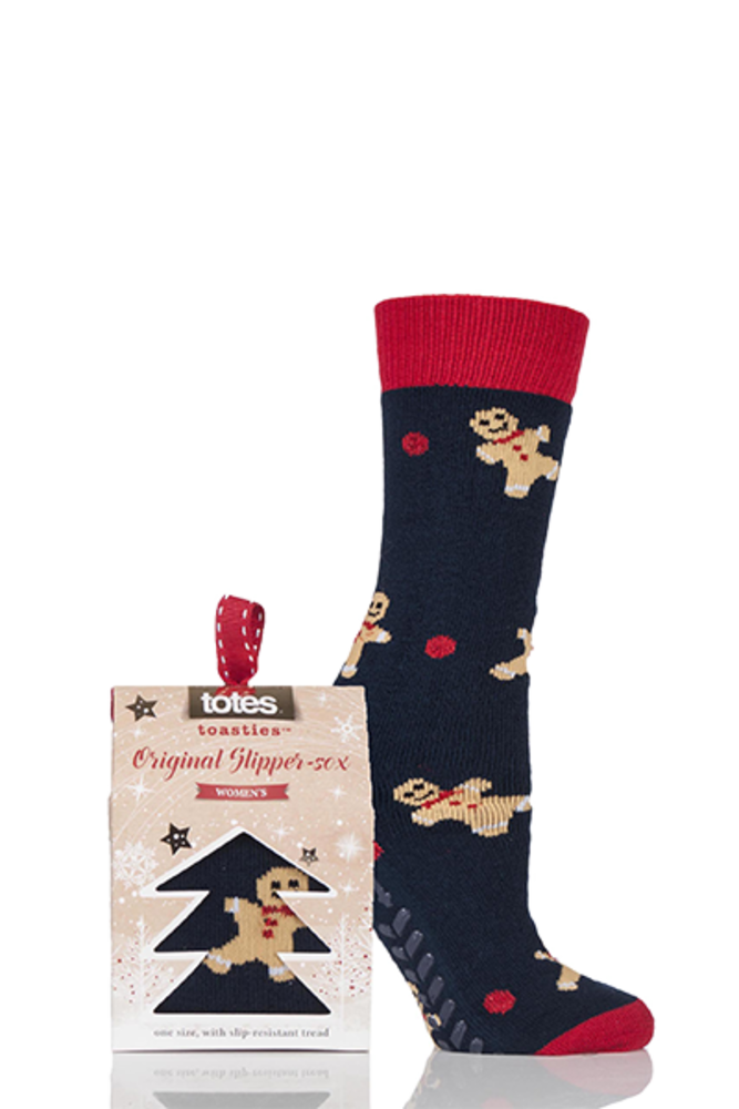 Totes Novelty Gingerbread Man Slipper Socks with Grip Navy