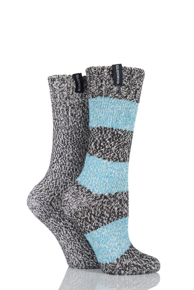 Ladies 2 Pair Glenmuir Stripe and Plain Marl Cotton Boot Socks 25% OFF