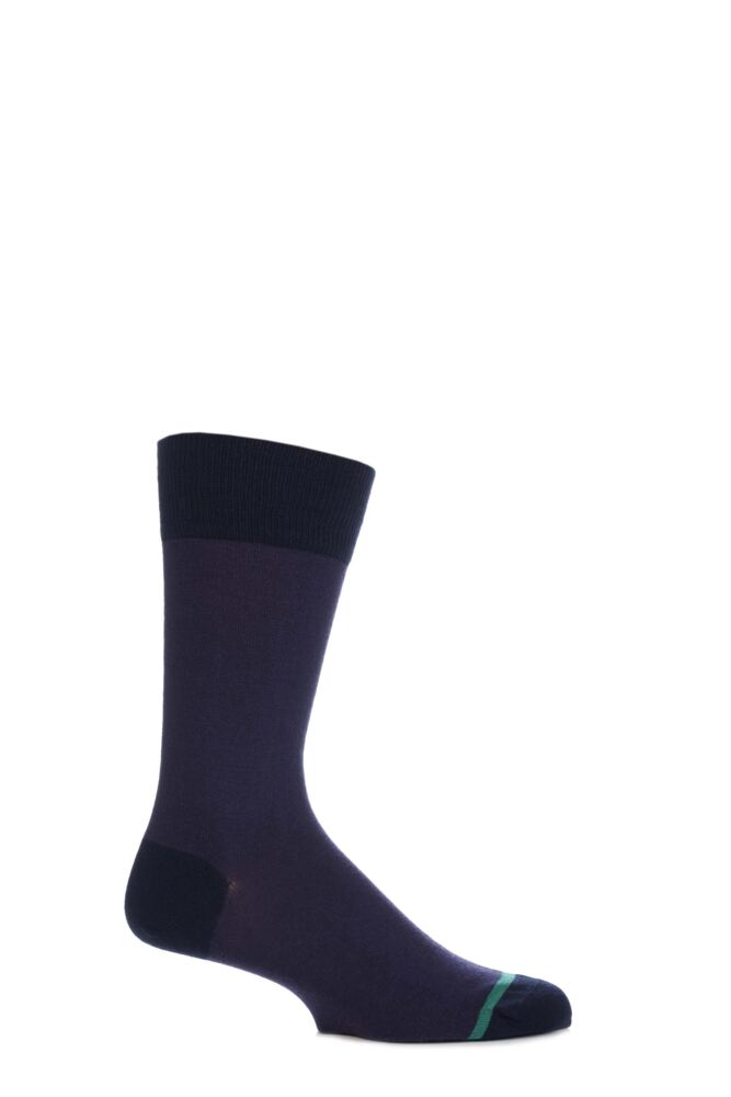 Mens 1 Pair John Smedley Maldon Extrafine Merino Wool Contrast Heel and Toe Socks 25% OFF