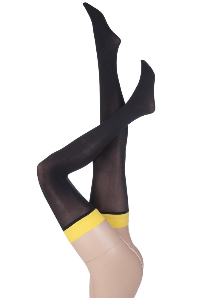 Ladies 1 Pair Pretty Polly Allsorts Opaque Coloured Top Hold Ups