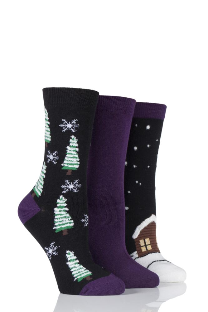 Ladies 3 Pair SockShop Christmas Tree and Snow Design Novelty Cotton Socks