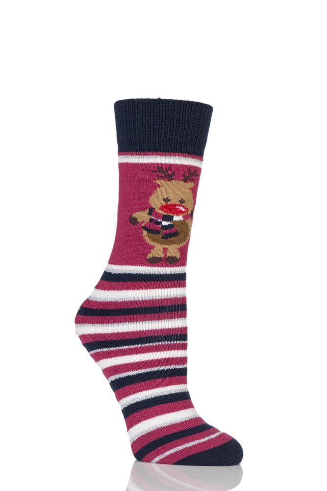 Ladies 1 Pair Totes Original Christmas Novelty Reindeer Stripe Slipper Socks with Grip