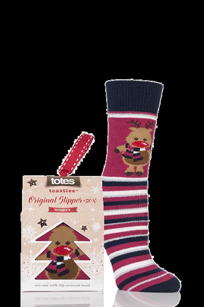 Totes Christmas Novelty Reindeer Stripe Slipper Socks