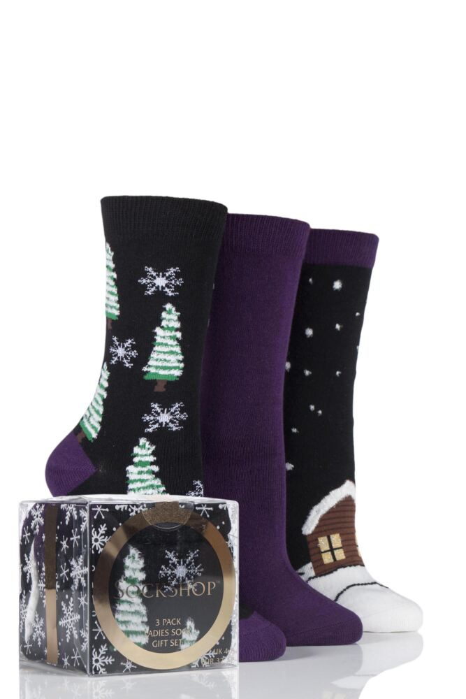Ladies 3 Pair SockShop Christmas Tree and Snow Design Novelty Cotton Socks In Gift Box