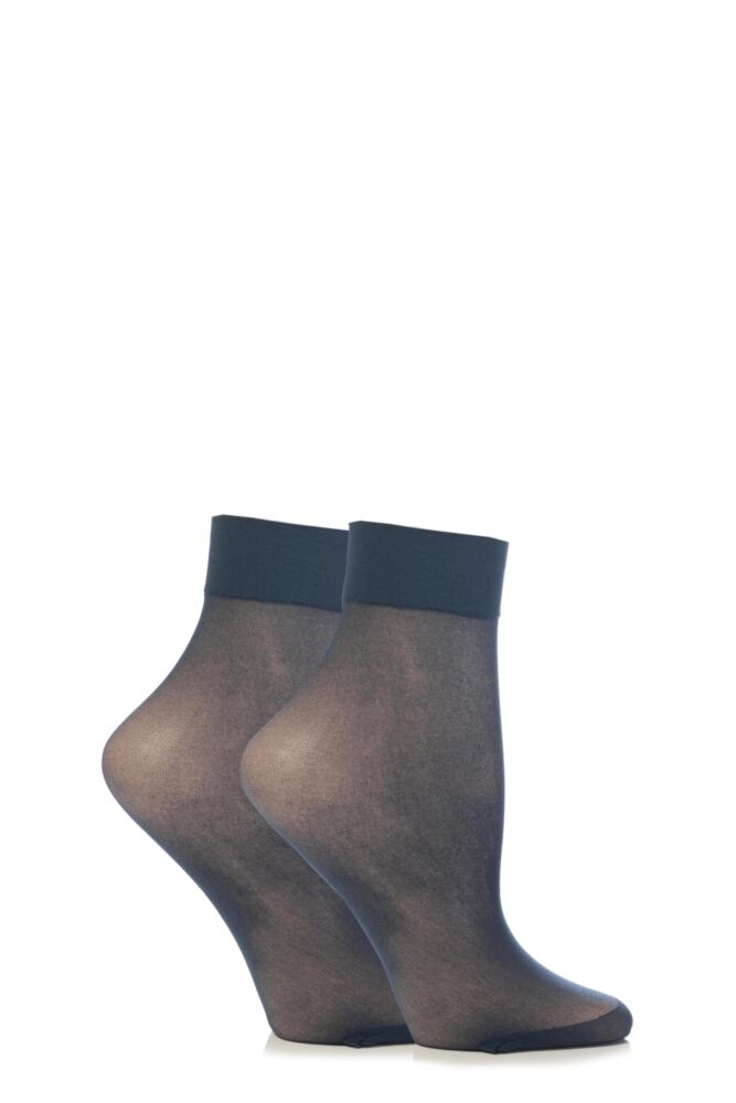 Ladies 2 Pair Elle 15 Denier Ankle Highs With Comfort Cuff