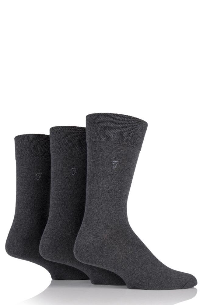 Mens 3 Pair Farah Plain Comfort Cuff Socks