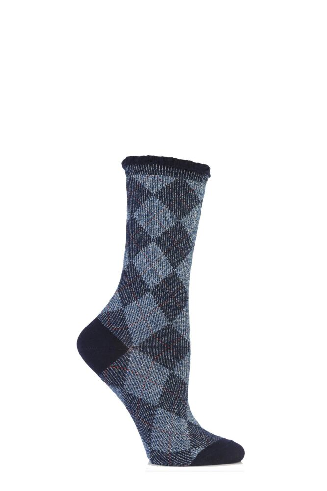 Ladies 1 Pair Burlington Lurex Argyle Cotton Socks 50% OFF