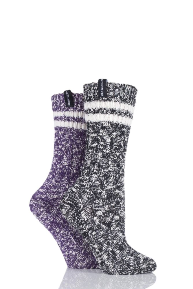 Ladies 2 Pair Glenmuir Cable Knit Cotton Blend Boot Socks