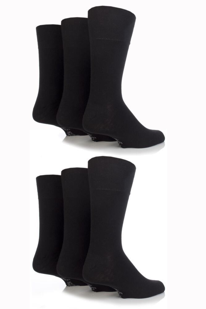 Mens 6 Pair Outstanding Value Comfort Cuff Plain Socks