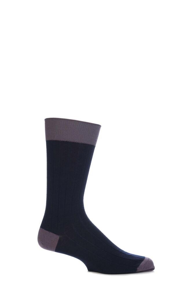 Mens 1 Pair John Smedley Denholm Plain Merino Wool Socks
