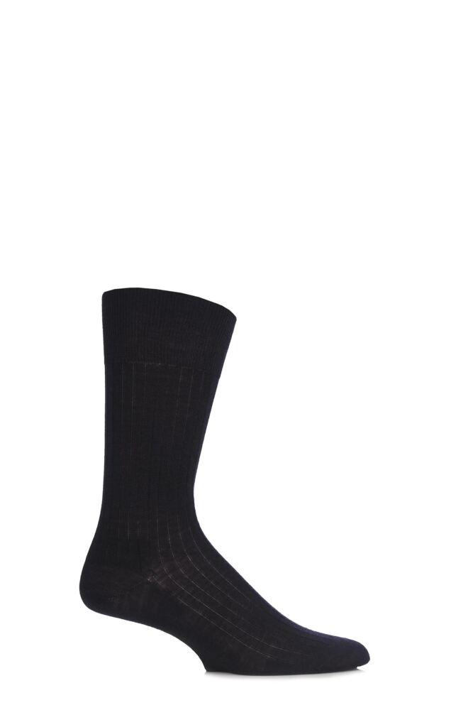 Mens 1 Pair Hugo Boss William Plain Ribbed Merino Wool Socks