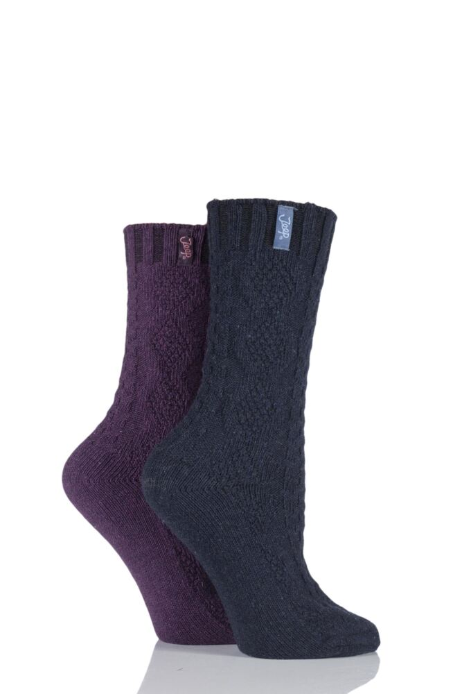 Ladies 2 Pair Jeep Spirit Aran Knit Wool Blend Socks
