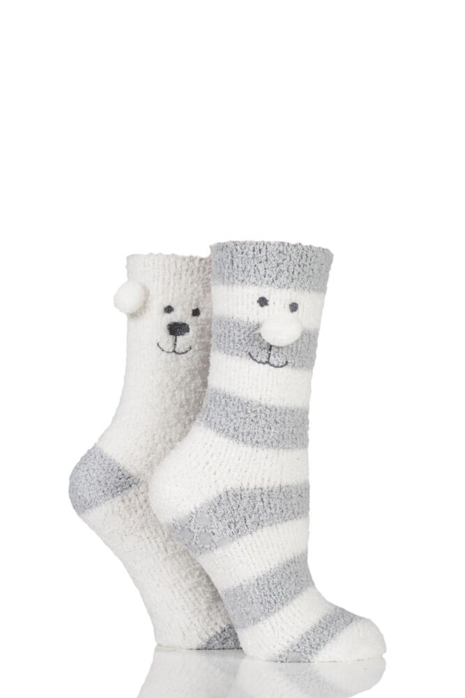 Ladies 2 Pair Totes Super Soft Twin Bear Face Bed Socks with Grip