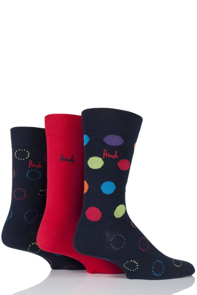 Mens 3 Pair Pringle Clarkston Plain, Circles and Spotty Cotton Socks