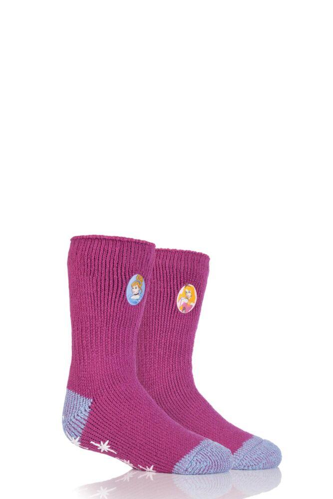 Girls 1 Pair Heat Holders Disney Princess Slipper Socks with Grip