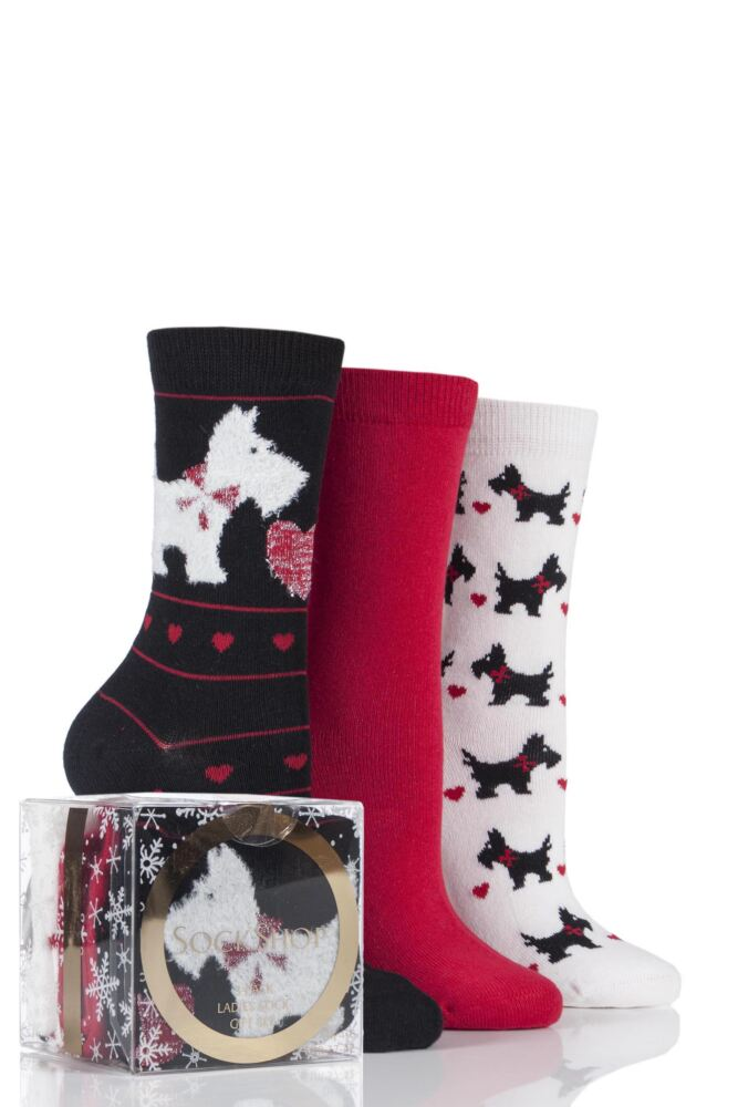Ladies 3 Pair SockShop Scottie Dog Design Novelty Cotton Socks In Gift Box