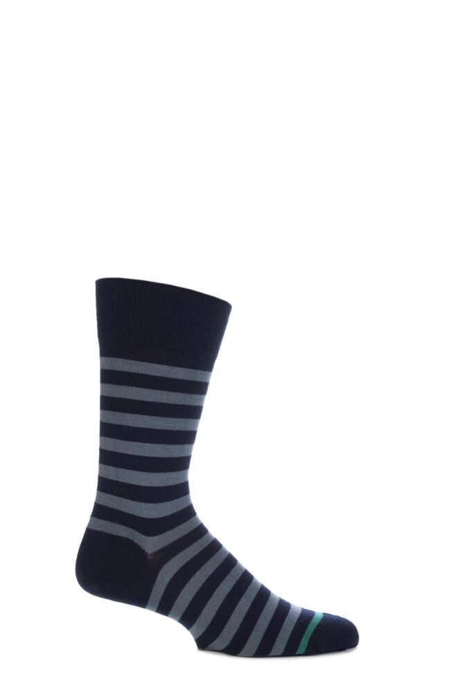 Mens 1 Pair John Smedley Shaldon Extrafine Merino Wool Striped Socks With Contrast Toe Stripe