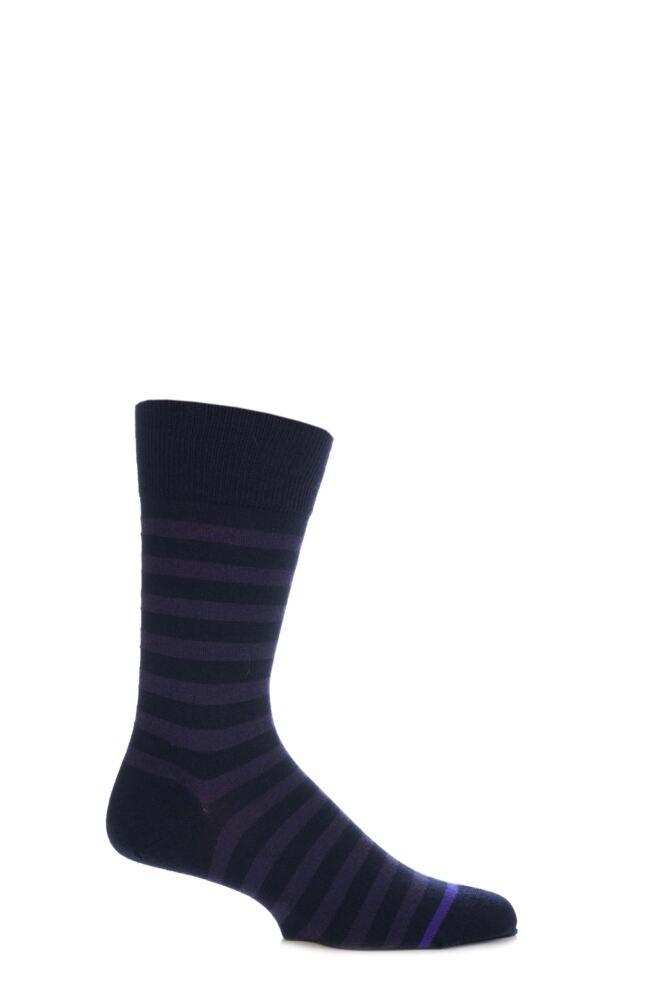 Mens 1 Pair John Smedley Shaldon Extrafine Merino Wool Striped Socks With Contrast Toe Stripe