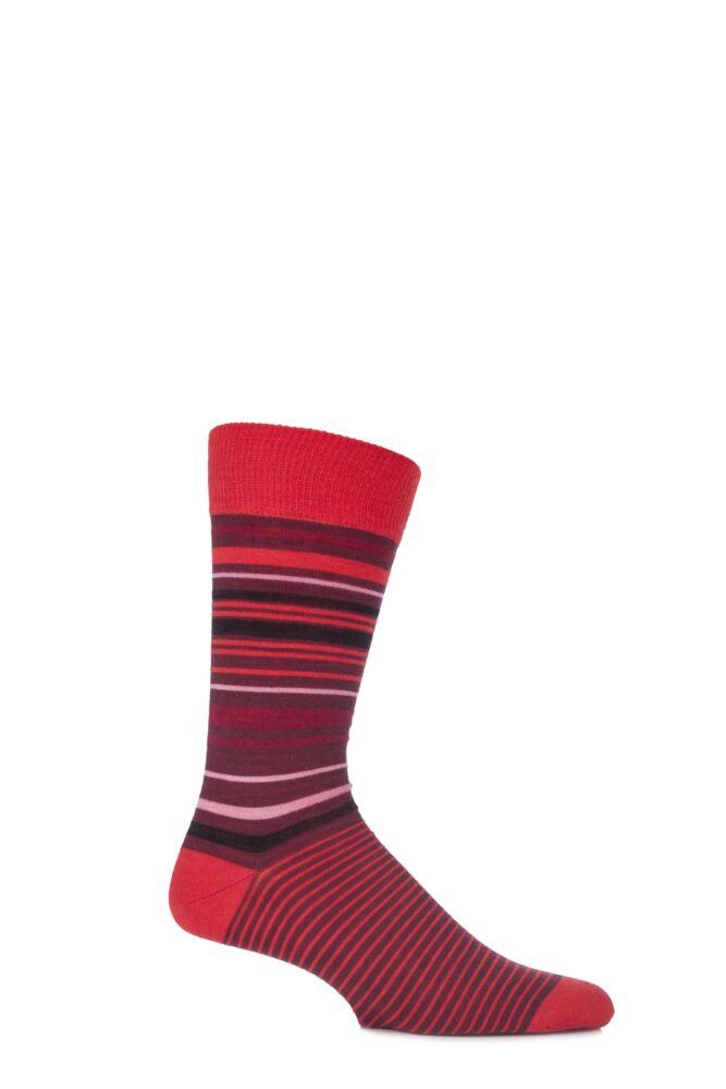 Mens 1 Pair Viyella Tonal Striped Wool Cotton Blend Socks 33% Off