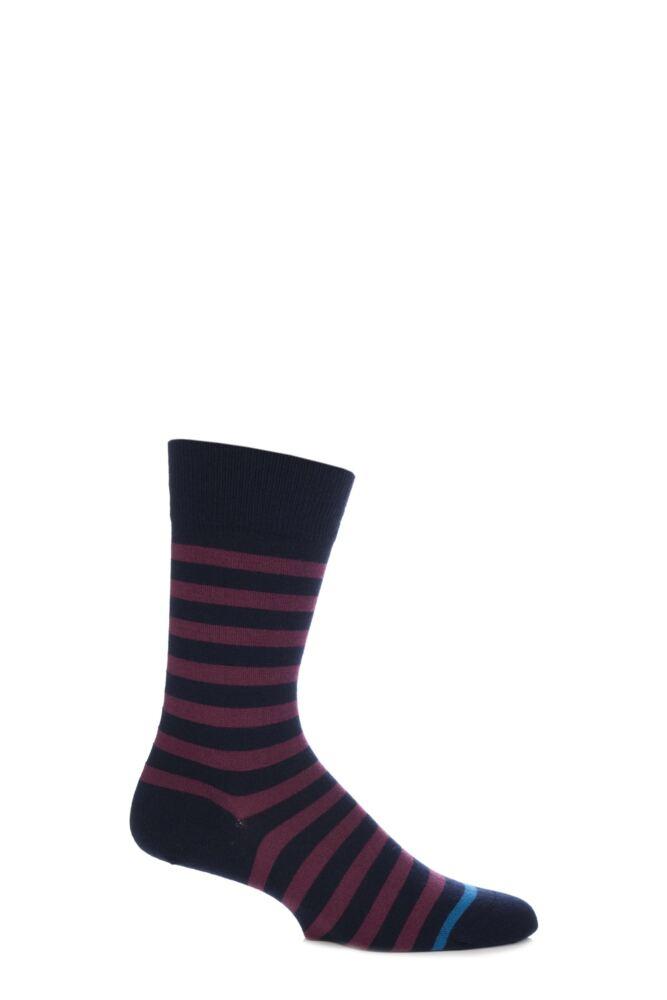 Mens 1 Pair John Smedley Shaldon Extrafine Merino Wool Striped Socks With Contrast Toe Stripe 25% OFF
