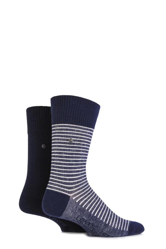Mens 2 Pair Levis 168SF Comfort Top Fine Striped Cotton Socks