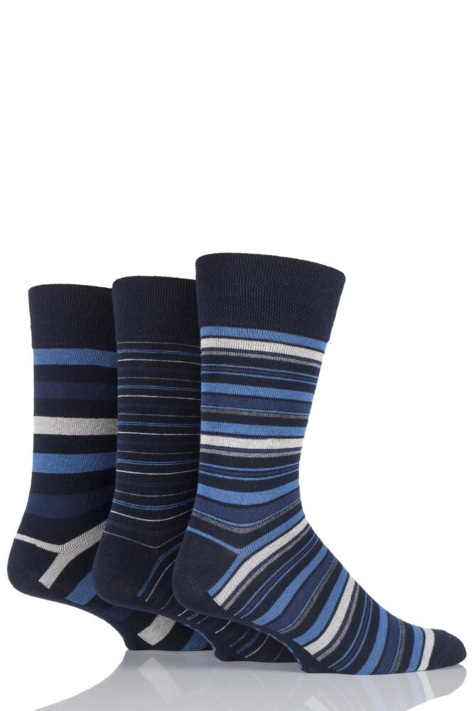 Mens 3 Pair Farah Classic Deluxe Striped Cotton Socks