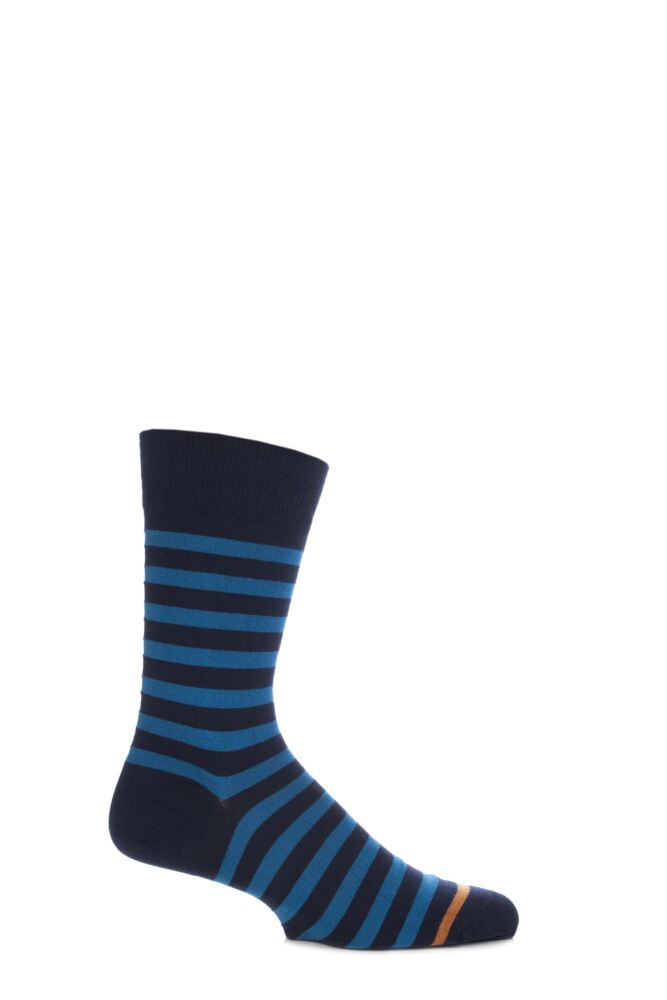 Mens 1 Pair John Smedley Shaldon Extrafine Merino Wool Striped Socks With Contrast Toe Stripe 25% OFF