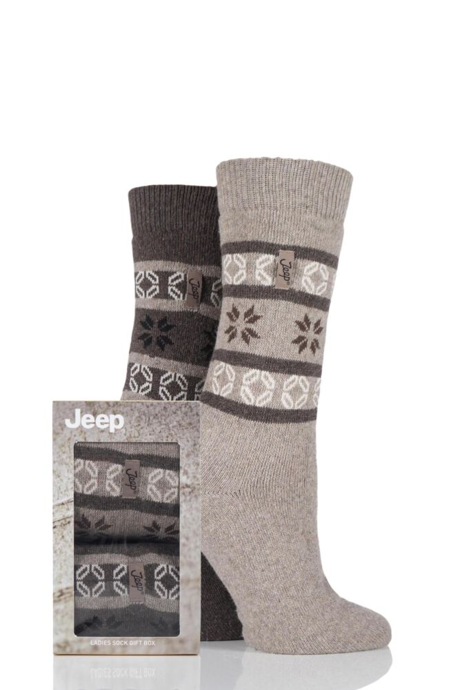 Ladies 2 Pair Jeep Wool Blend Fair Isle Socks Gift Box