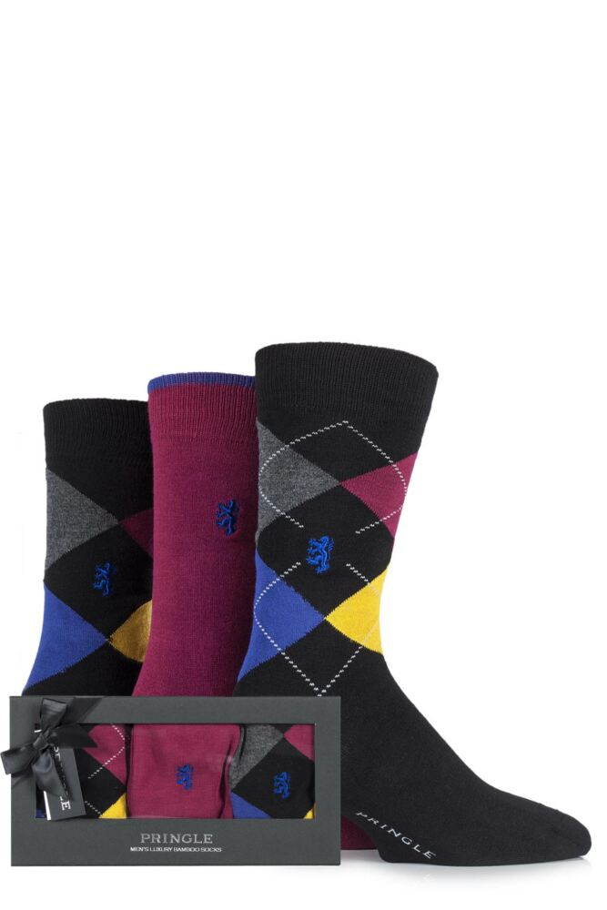 Mens 3 Pair Pringle Black Label Gift Boxed Plain and Argyle Bamboo Socks