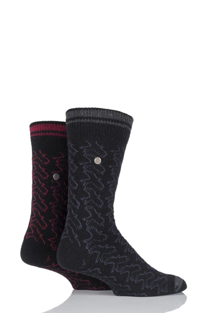 Mens 2 Pair Jeep Spirit Eagle Pattern Wool Mix Socks