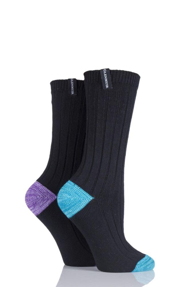 Ladies 2 Pair Glenmuir Ribbed Contrast Heel and Toe Cotton Leisure Socks