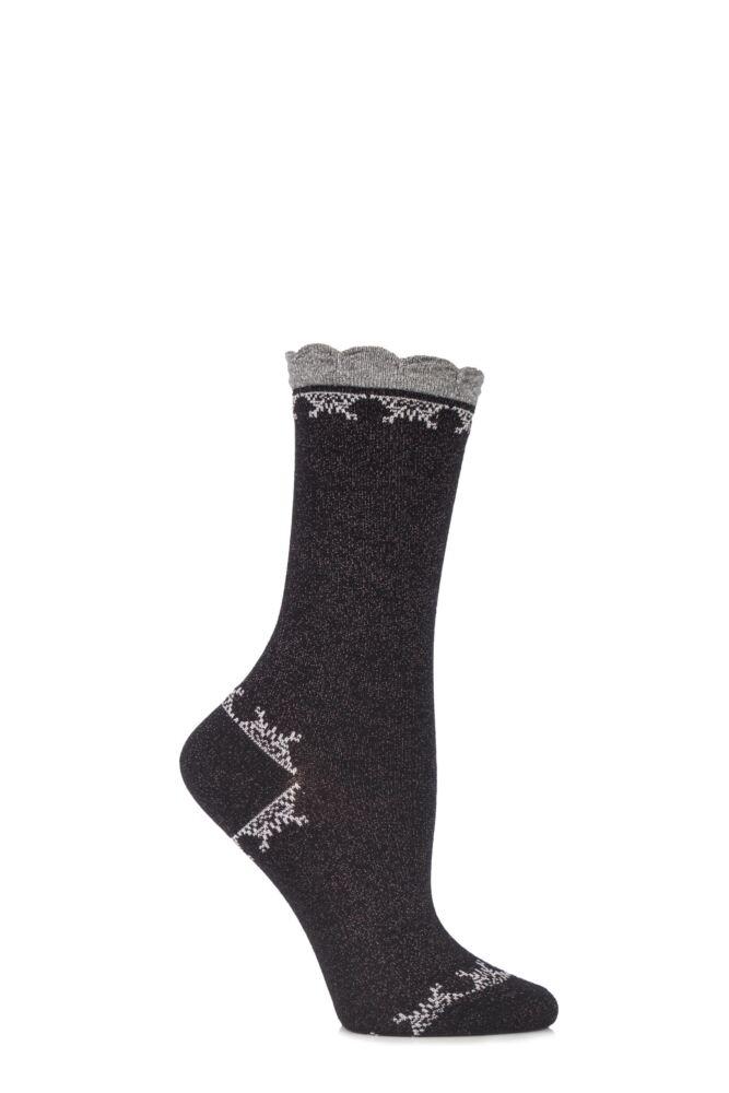 Ladies 1 Pair Falke Shiny Christmas Lurex Fair Isle Cotton Socks