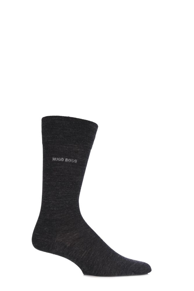 Mens 1 Pair Hugo Boss William Plain Merino Wool Socks