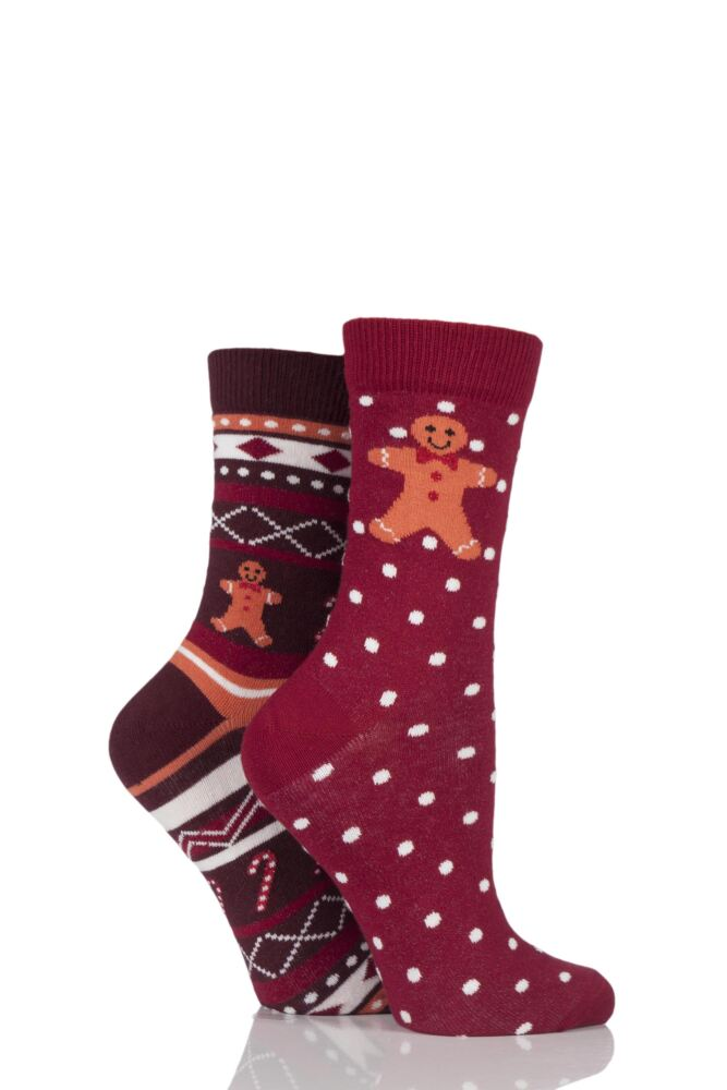 Ladies 2 Pair Totes Christmas Novelty Socks In Cracker Gift Box