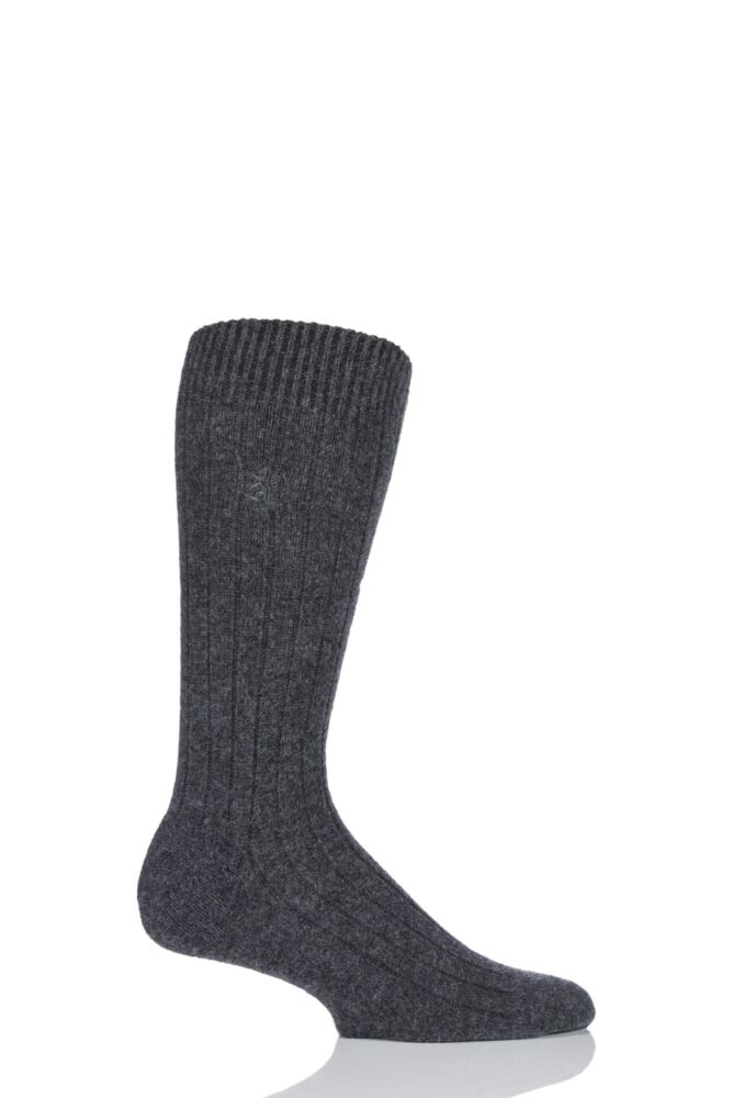 Mens 1 Pair Pringle of Scotland 85% Cashmere Ribbed Socks