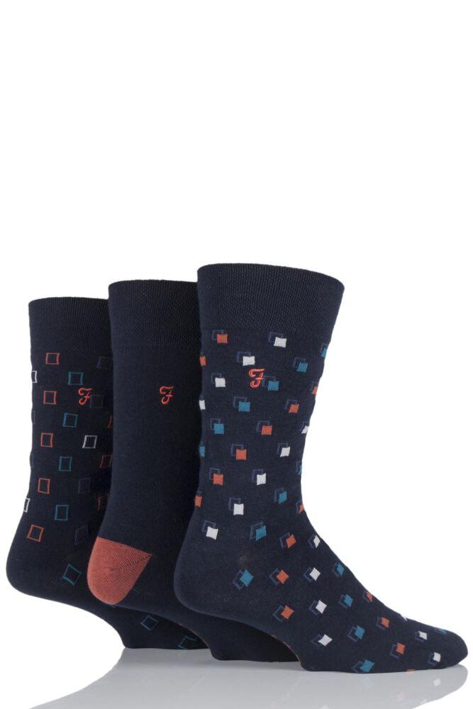 Mens 3 Pair Farah Classic Luxury Square Cotton Socks