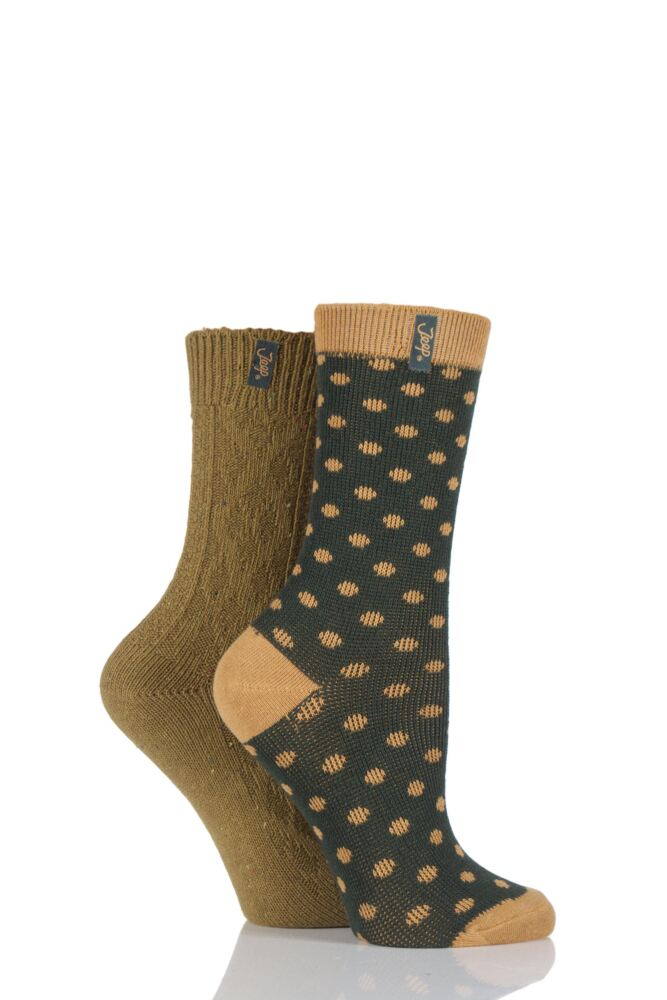 Ladies 2 Pair Jeep Spirit Spotty and Aran Knit Cotton Socks