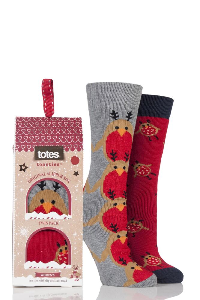 Ladies 2 Pair Totes Original Christmas Novelty Robin Slipper Socks with Grip